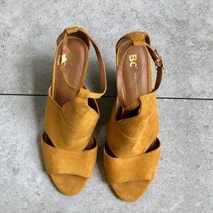 BC Mustard Yellow Wedge Sandals